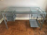 Glass desk with grey metal frame