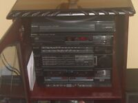 Hitachi stereo system complete with mahogany cabinet