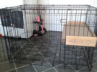 Medium Dog crate converted to rabbit cage