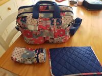 Cath Kidston changing bag with changing mat and bottle warmer