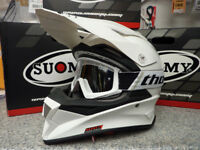 New 2018 Suomy Mr Jump Plain White Helmet Thor Goggles Motocross Enduro S M L XL