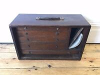 Vintage Oak Engineers Drawers Toolbox Cabinet Worn and Lovely