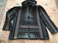 Hippie / boho festival hoodie jacket, blue, size L