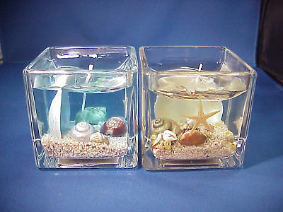 2X Seashells and Sand Scented Gel Candles inside Glass