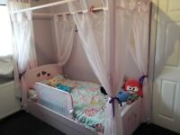 Girls four poster bed with storage drawer