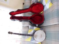 eastman white lady five string banjo as new with as new hardcase