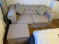 Two seater DFS sofa & pouffe