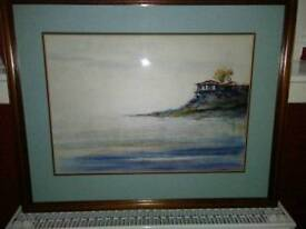 LARGE WATER COLOUR OF CLIFF TOP VILLA, WITH THE OCEAN BELOW