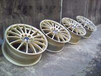 "17"" 4x100-4x108 Gold Alloy Wheels Mini-Vauxhall-Ford-Mg-Rover-Honda"
