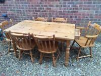 Solid pine farmhouse dining table with drawer and 6 chairs. Inc 2 carvers