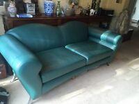 Stunning Italian Green Leather Sofa