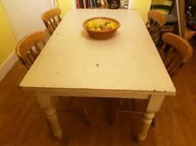 kitchen table and chairs (pine, rustic)