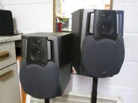 Speakers & Stands 2 JVC Labyrinth speakers. 2 Black steel adjustable stands.