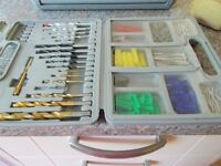 Box of Drill and Screw Bits plus screws and plugs