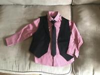 Boys shirt tie and waistcoat set