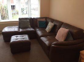Leather Corner Sofa with storage pouffee