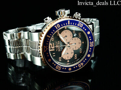 Invicta Men 52mm GRAND PRO DIVER COMBAT SEAL Chronograph Charcoal Dial SS Watch