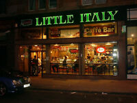 Little Italy are recruiting Full Time waiting staff and Baristas