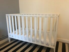 Mothercare white cot and mattress.