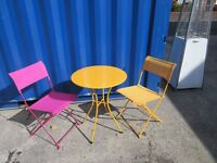 FUNKY BRIGHT METAL BISTRO 3 PIECE SET ITS NEARLY SUMMERTIME!! ONLY £20!!