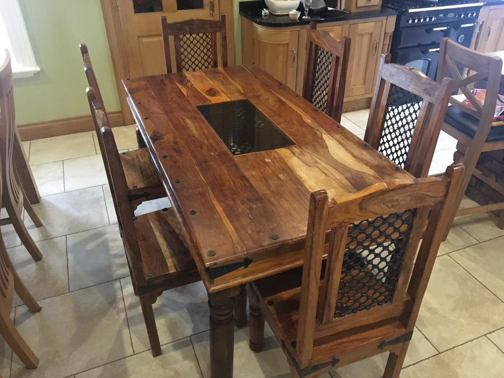 1c0342ca4e3 Solid Sheesham Wood Dining Table and 6 chairs