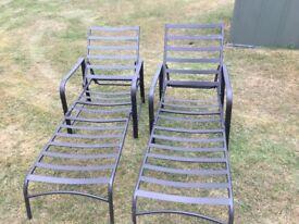 2 metal frame adjustable sun beds good condition
