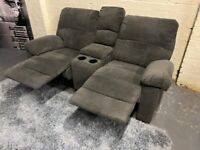 NICE GREY FABRIC SOFA RECLINER + ARMREST WITH DOUBLE CUP HOLDERS & STORAGE