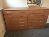 2 chest of drawers 2 bedside tables and wardrobe