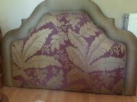 Pattern Double Bed Headboard with Matching Bed Cover