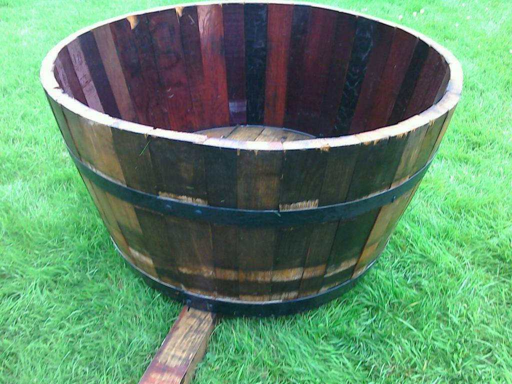 Two Very Large Solid Oak Half Barrel Garden Tubs In