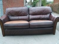 DFS GENIUNE LEATHER SOFA CHOC BROWN VERY CLEAN & COMFORTBALE NO RIPS OR TEARS COST 3000 CAN DELIVER