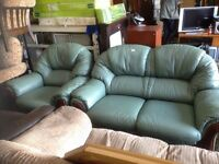 2 seater green leather sofa and chair