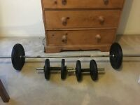 Barbell and dumbbell with weights x2 10KG and x4 5kg excellent condition