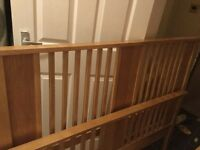 Double bed in oak colour with slatted base all screws are there
