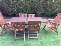 Garden table , 6 chairs & brand new cushions