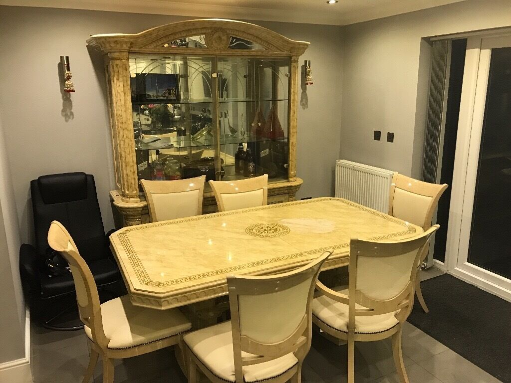 Dining Table And Showcase Cabinet For Sale Italian Style