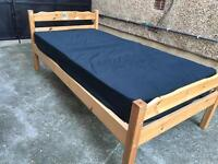 Solid pine single bed + John Lewis •free delivery •