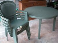 Brand new patio furniture - table, chairs, parasol - Grossfillex