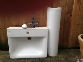 Bathroom sink +pedal stool