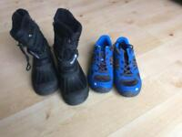 Trespass size 2 snow boots and Decathlon walking shoes size 2.5