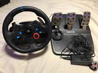 Logitech g29 steering wheel, pedals