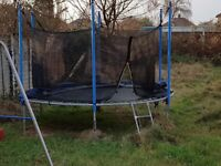 10ft Trampoline, complete with enclosure, ladder and spring protectors