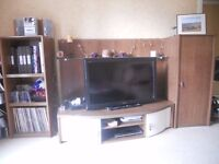 Smart stylish TV stand and 2 tall side cabintets