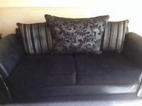 Fabulous large Blackand Silver 3 Seater sofa and 1 chair. In really good condition.