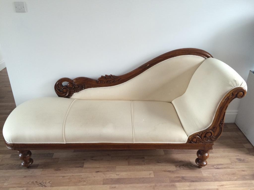 Beautiful cream satin dark wood chaise longue in for Chaise longue london