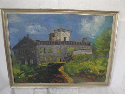 schönes Gemälde eines Gebäudes signiert