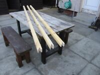 Wooden clothes props (Stretchers) 2.4 metres x 45mm x 45mm £10.00 each , £19.00 pair, (3) for £27.00