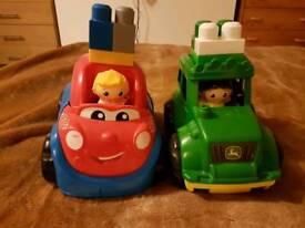 Mega Bloks vehicles x2 with some mega blok bricks – a car and a John Deere tractor