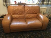 Tan leather suite with electric reclining chair
