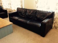 2 x 3 seaters brown leather sofas